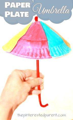 Paper plate umbrella craft for spring. Spring arts and crafts ideas for kids. #christmasartsandcraftsforkids,