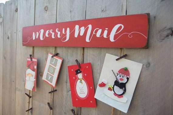 Christmas Card Merry Mail Holder  Card Holder  by BornOnBonn