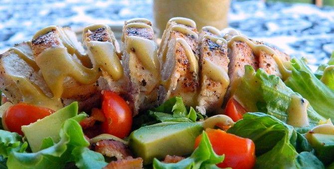 Chicken salad with mustard sauce