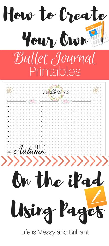 How to Create Bullet Journal Printables on the iPad Using Pages
