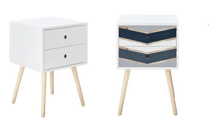 Cheap bedside table repaint design - charcoal, gold and grey chevron