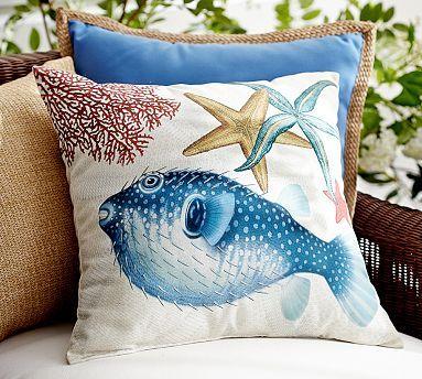 Playa Puffer Fish Indoor/Outdoor Pillow #potterybarn