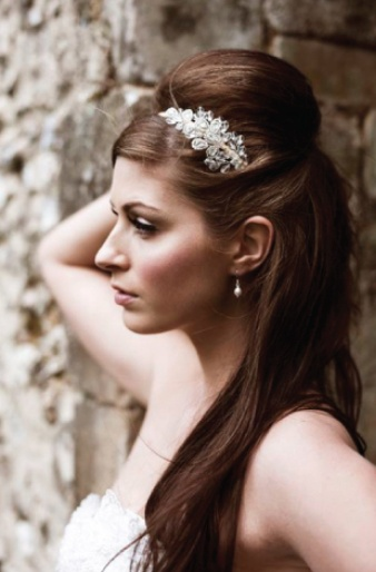 Bridal hair: Half up half down with volume on top- love this but with curls instead of straight