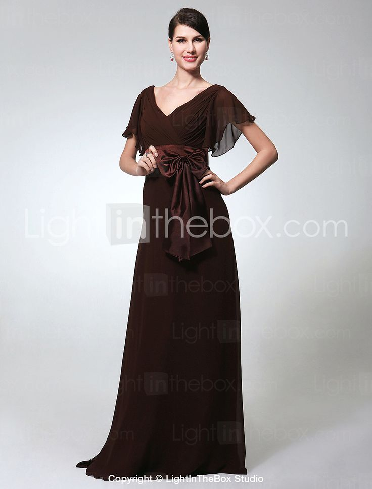 Sheath/ Column V-neck Short Sleeve Floor-length Chiffon Evening Dress - USD $ 149.99; either Chocolate or Ruby