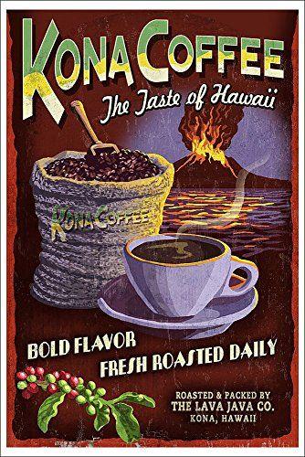 Kona Coffee Vintage Sign - Hawaii (12x18 Art Print, Wall Decor Poster) Lantern Press http://www.amazon.com/dp/B00N5CJ5DI/ref=cm_sw_r_pi_dp_idptvb15T9HT5