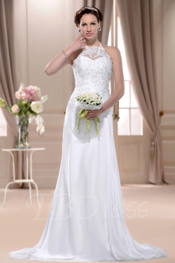 Tbdress.com offers high quality  Sheath/Column High-Neck Sleeveless Floor-length Court Wedding Dress Beach Wedding Dresses unit price of $ 124.44.