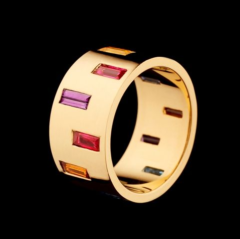 TUBE RING - 18ct Fairtrade & Fairmined Ecological yellow gold with precious stones Hattie Rickards