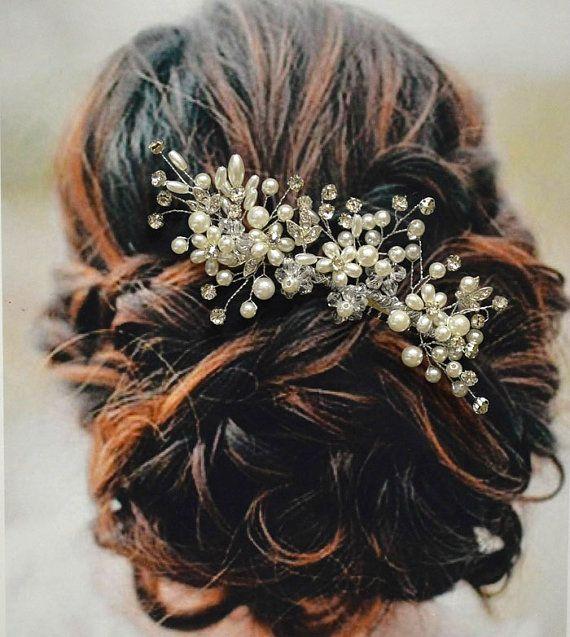 Peigne à cheveux de mariée Versailles, peigne à cheveux mariage, perle et cristal peigne, accessoires de cheveux de mariée mariage, parure de mariage Floral