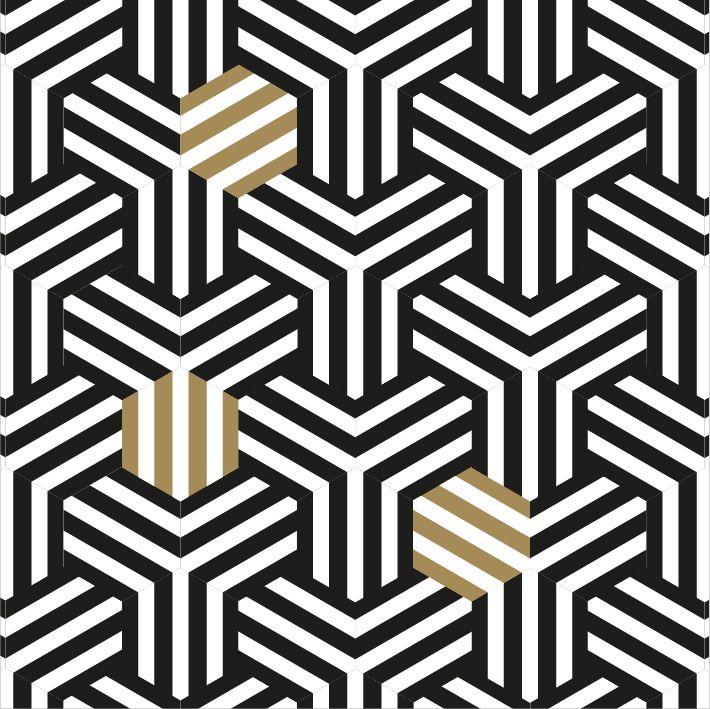 #apointun #pattern #blackandgold #graphic #hexagone