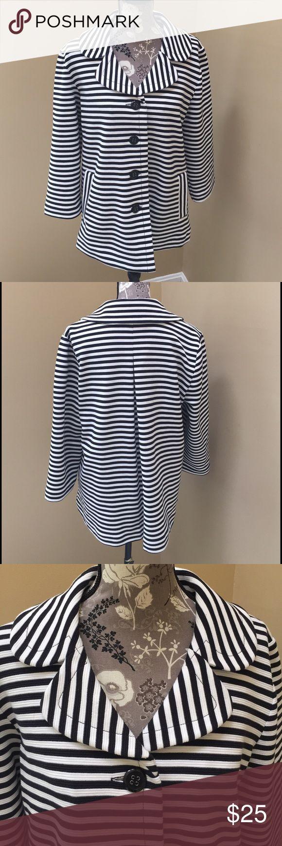 NWOT Pendleton striped jacket NWOT Pendleton black and white stripe jacket. Size large. 67% polyester, 32% cotton, 1% spandex. Super cute and looks great on. Extra button if needed. 3/4 quarter sleeve. pendleton  Jackets & Coats