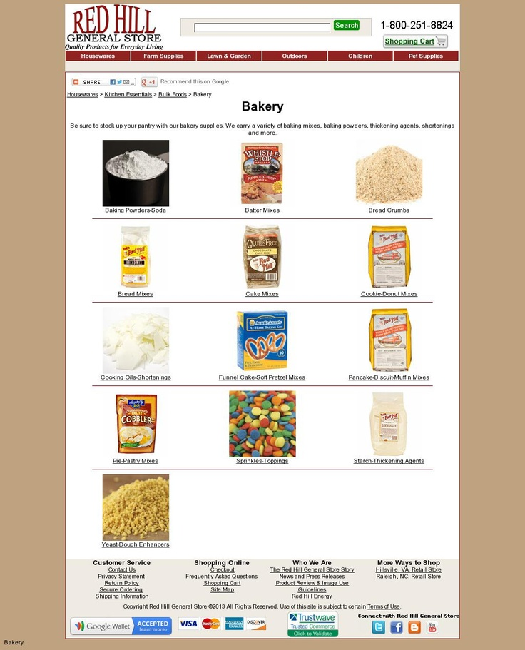Bulk Bakery Items - Be sure to stock up your pantry with our bakery supplies. We carry a variety of baking mixes, baking powders, thickening agents, shortenings and more.
