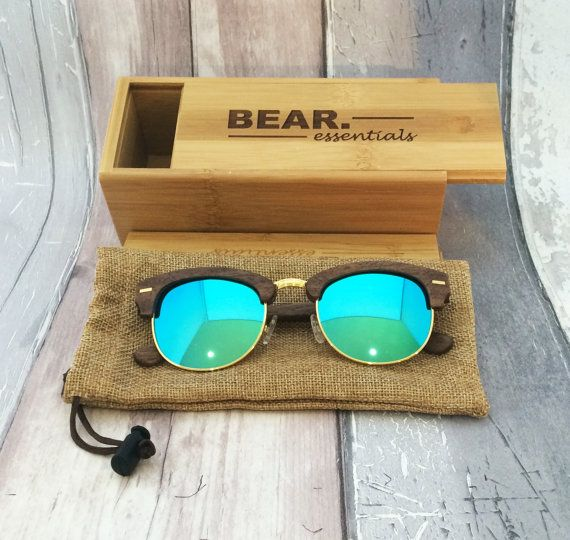 Bear Essentials wooden sunglasses - using the finest woods and craftsmanship the GRIZZLY BEAR Walnut Wood Sunglasses are a modern update to the classic clubman shape.  The vintage shape adopts a contemporary approach to design in response to the ever-growing issues of sustainability.  The Polarised UVA and UVB Protection lenses are perfectly equipped to tackle the slopes, the beach, and all environments in-between.