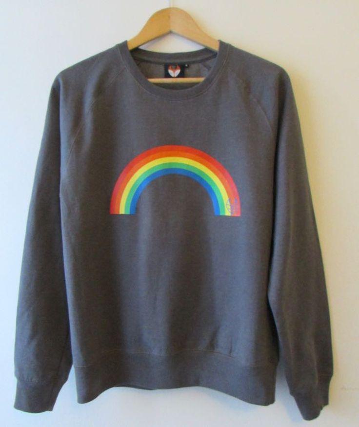 Women's Rainbow icon sweatshirt. Organic round neck raglan sleeve sweatshirt in grey. £5 of every sale will go to Roald Dahl's Marvellous Children's Charity.