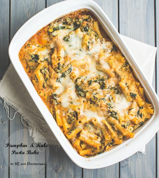 Vegetarian Pumpkin and Kale Pasta Bake - The Adventures of MJ and Hungryman