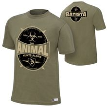 "Batista ""The Animal Hunts Alone"" Authentic T-Shirt- medium"
