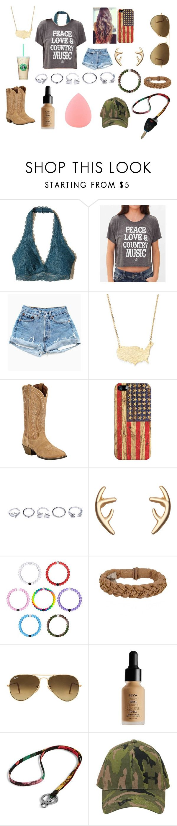 """Untitled #56"" by ajgswim on Polyvore featuring Hollister Co., Ali Dee Collection, Moon and Lola, Ariat, Casetify, GUESS, Roarke, Ray-Ban, NYX and Vera Bradley"