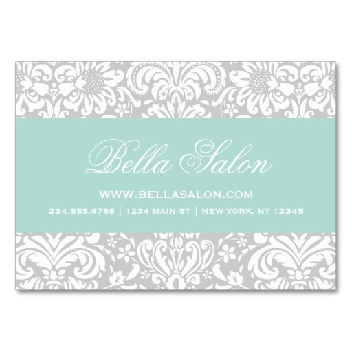 Gray and Mint Elegant Floral Damask Business Cards. This is a fully customizable business card and available on several paper types for your needs. You can upload your own image or use the image as is. Just click this template to get started!