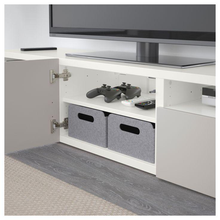 IKEA - BESTÅ TV bench white, Lappviken light gray