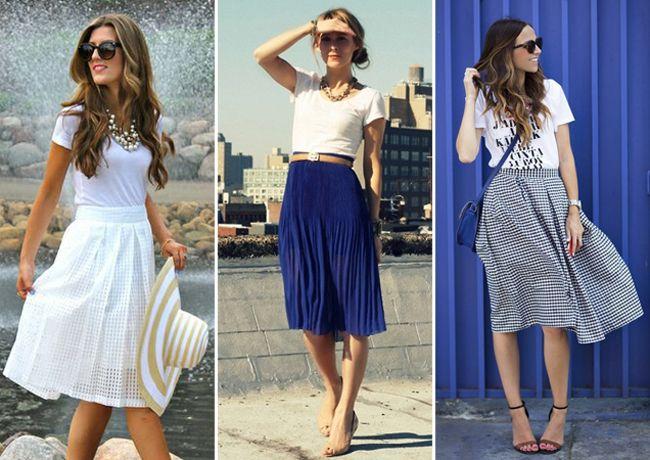 Para um visual feminino e refinado, a saia midi não tem erro.