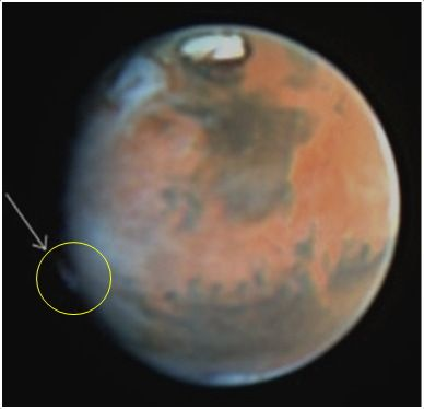 A plumelike feature was observed on Mars on May 17, 1997, by the Hubble Space Telescope. It is similar to the features detected by amateur astronomers in 2012, although it appeared in a different location. <br />