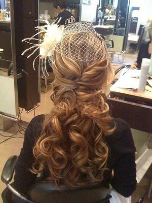 Hair if I wear it down, minus the bird cage veil.