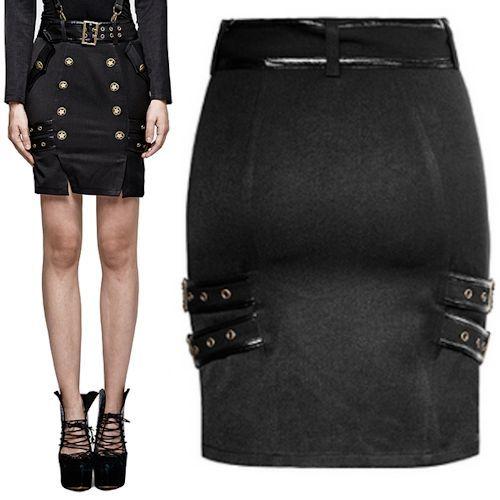 Black Knee Length Gothic Military Dress Pencil Skirts Women SKU-11406387