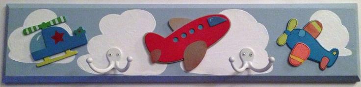 Children's Wallmounted Coat Rack Airplane Helicopter Jet Coatrack Gloves Hat Rack. $35.00, via Etsy. http://www.etsy.com/treasury/NTM5ODkzNXwyNzIzNzIyMjgw/score-points-with-on-fire-gifts