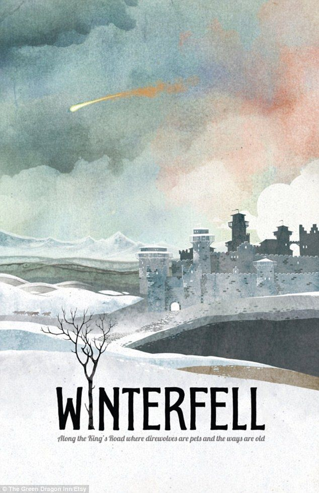 Winterfell is a large castle ruled by King Robb Stark and is featured in the Game of Thrones  1920s travel poster. GoT style :D