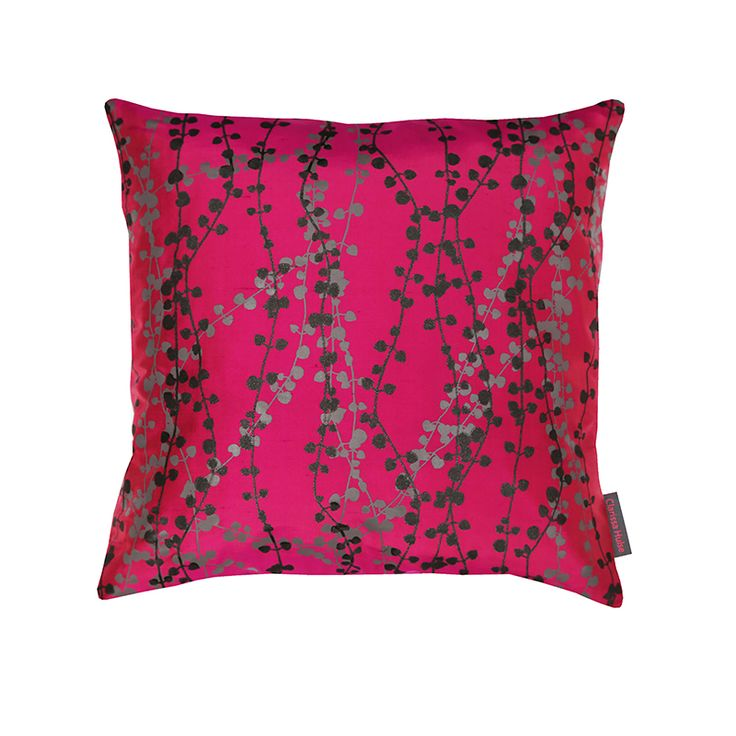 Pipevine silk cushion – hot pink / storm / gunmetal