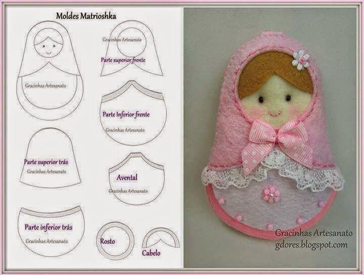 ARTE COM QUIANE - Paps,Moldes,E.V.A,Feltro,Costuras,Fofuchas 3D: molde matrioska…