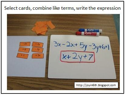 Good idea for students who need to practice combining like terms