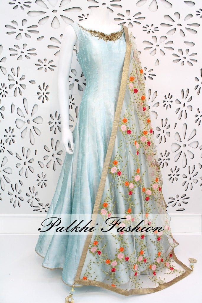 PalkhiFashion Exclusive Full Flair Sky Blue Pure Silk Outfit with Elegant Work and Beautiful Duppata.