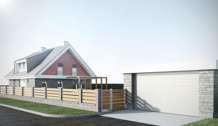 Již postavená hrubá stavba samostatně stojícího domu je situována v jižní části pozemku, cca. 4 m od hranice pozemku. Samostatná dvougaráž je umístěna na severním okraji pozemku a přístupová cesta od ní k domu kopíruje místní komunikaci, vedoucí po východní hraně pozemku.