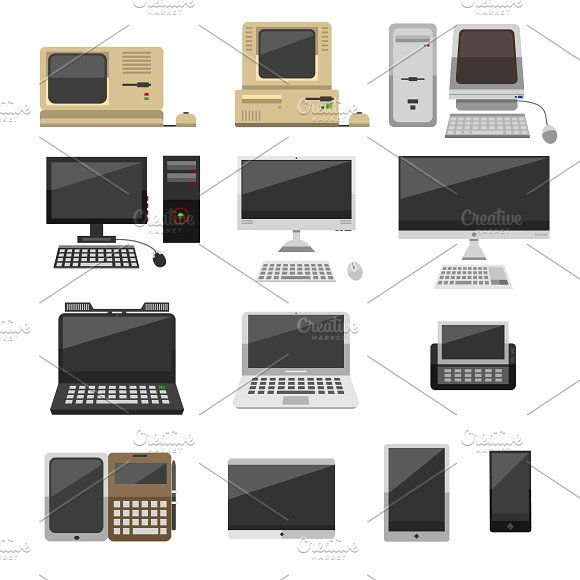 Computer technology vector evolution by RocketArt on Creative Market