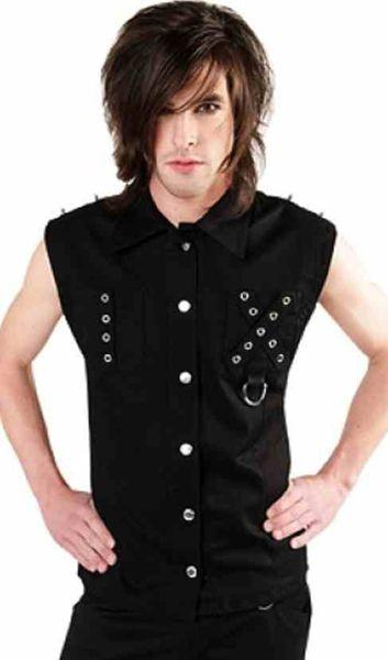 Black Pistol Punk Vest, Alt street wear or clubwear sleeveless shirt.