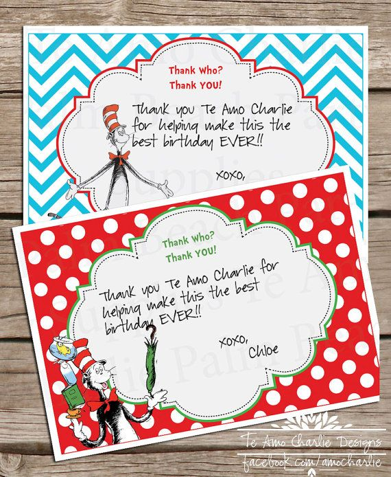 Printable dr seuss cat in the hat thank you cards dr for Dr seuss birthday card template