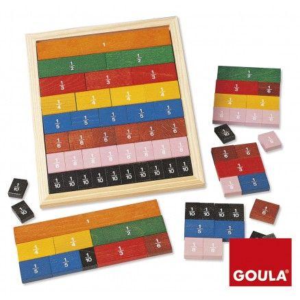 Inicia la suma, la resta de fracciones con este juego. Juego libre manipulando las piezas y colocándolas en el tablero o no. Y juego dirigido.
