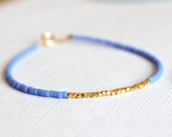 Gold gefüllt Armband - 14kt Gold gefüllte Armband - blaue Perlen und Gold Vermeil Armband - minimalistischen Armband