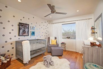 Modern Transformation - transitional - Nursery - San Diego - One Design Interiors (Love the dots on the wall)