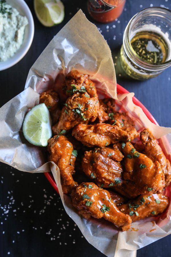 mexican spiced crispy-oven wings with avocado crema www.climbinggriermountain.com