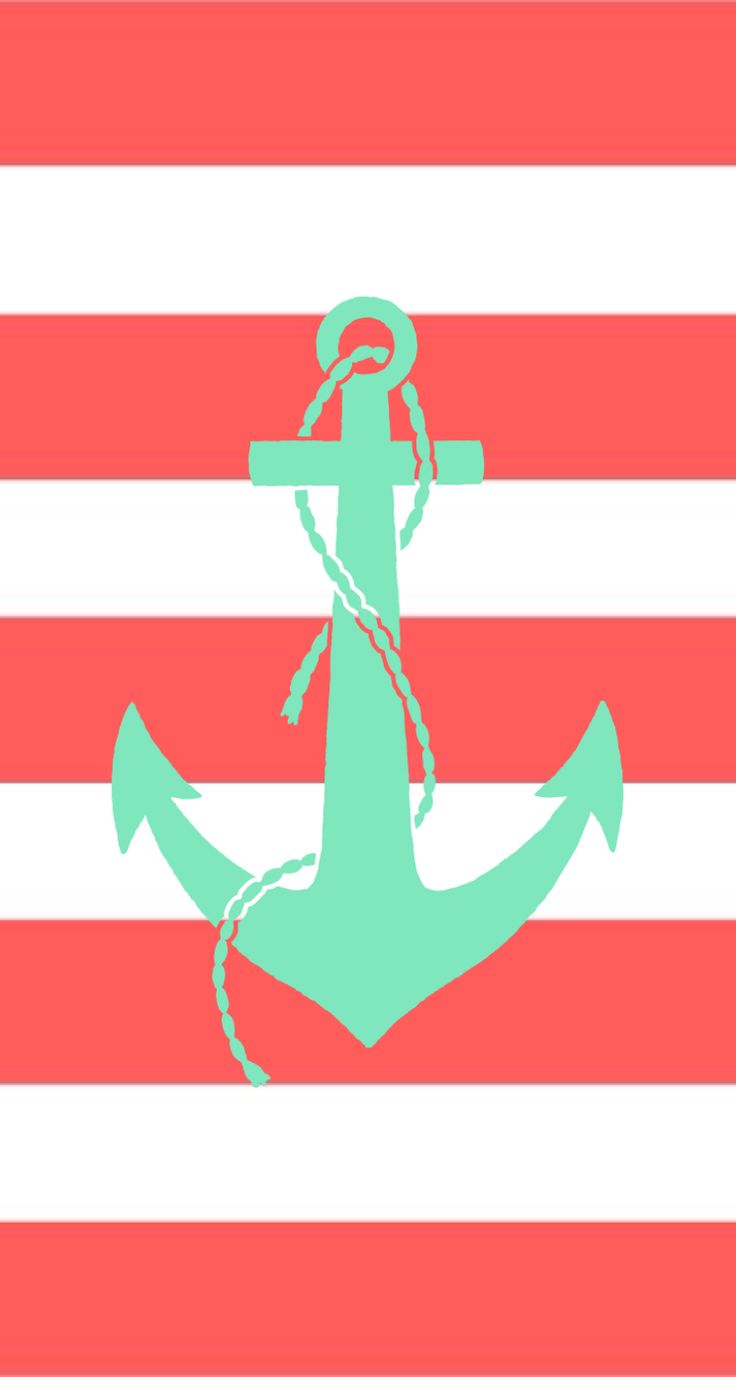 Coral and mint striped anchor iphone background wallpaper ...