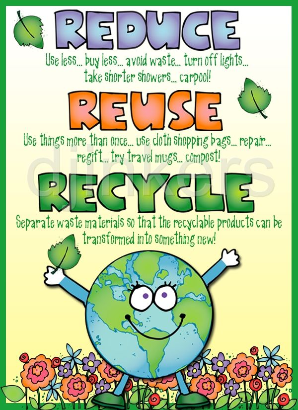 Reduce, Reuse, Recycle poster!  Made using clip art from DJ Inker's Kidoodlez Science & Math collection.