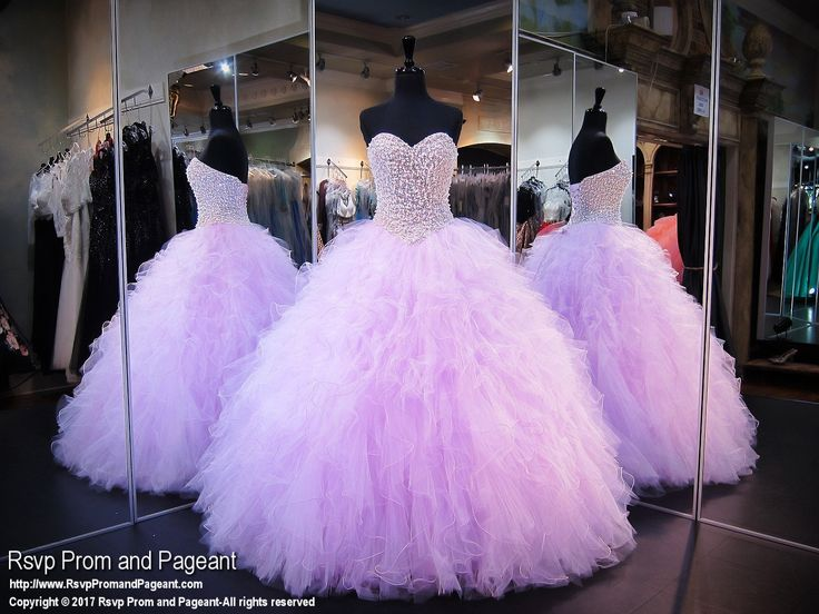 This beautiful beaded light purple ball gown will make you feel like a glamorous princess and it's at Rsvp Prom and Pageant, your source of the HOTTEST Prom and Pageant Dresses!
