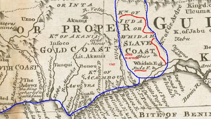Ancient map from 1747 showing the tribe of Judah on West Coast of Africa