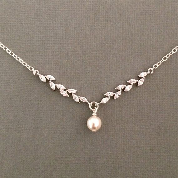 Sterling silver cubic zirconia and Swarovski pearl necklace by coloursparklebridal on Etsy. Bridal jewellery, wedding jewellery