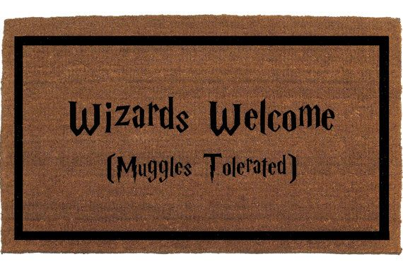 "Wizards Welcome Muggles Tolerated Harry Potter Door Mat - Coir Doormat Rug, 2' x 2' 11"" (24 Inches x 35 Inches) Outdoor, Housewarming Gift"