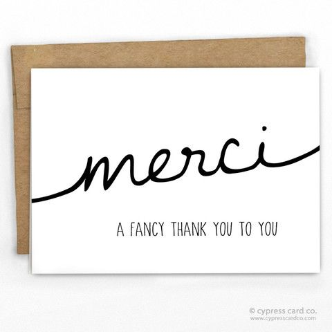 Thank You Cards | Merci By Cypress Card Co. | 100% Recycled Boutique Cards | See more funny cards at www.cypresscardco.com