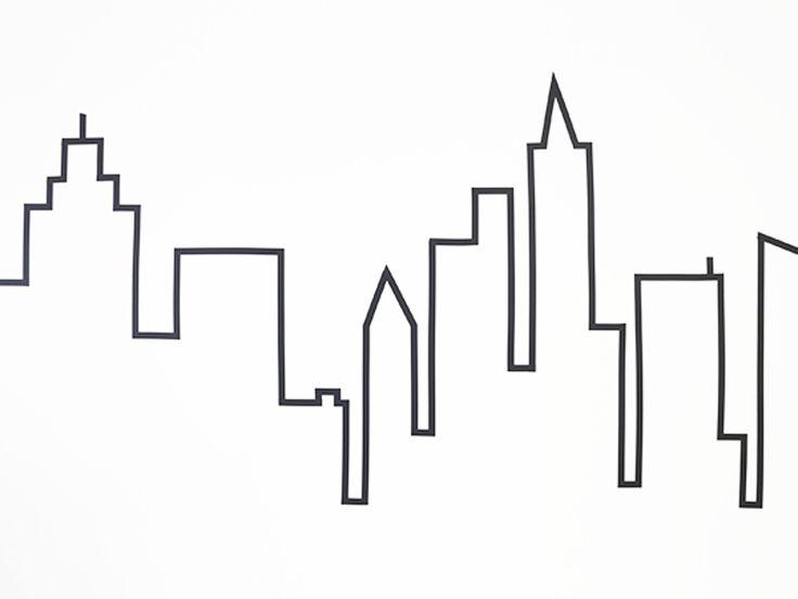 マスキングテープで描く!街のスカイラインをウォールデコ☆ - CANDIY | シティガールのDIYレシピ&ツールのセレクトショップ