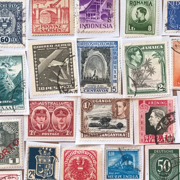 Look at this! Vintage postage stamps with adhesive backs for paper crafts. What would you do with these?