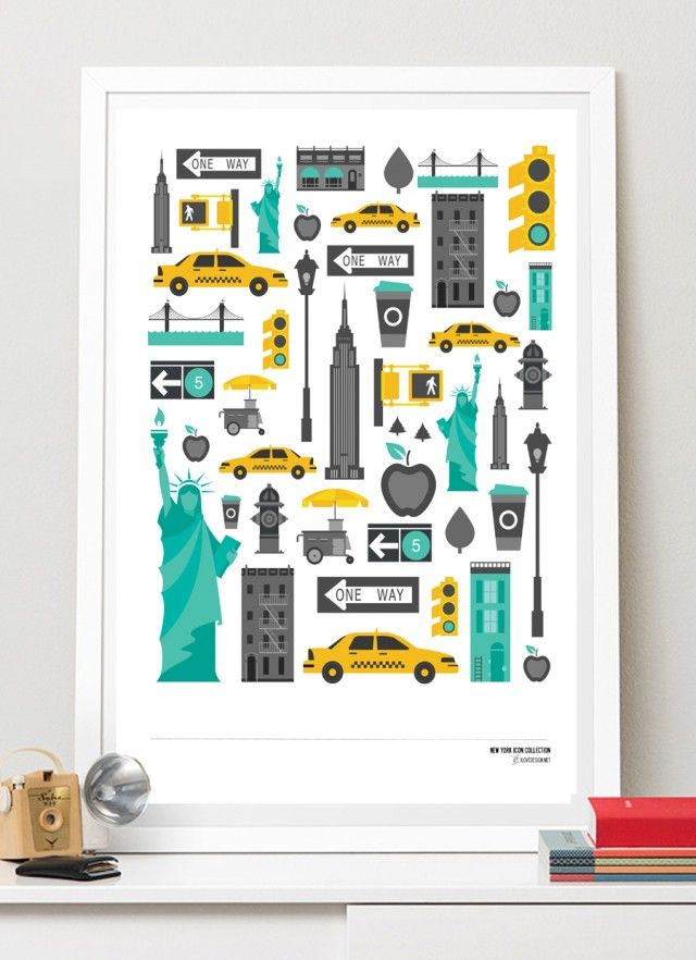 Best of New York, a poster by I Love Design! #nordicdesigncollective #newyork #ny #thebigapple #yellowcab #cab #statueofliberty #liberty #statenisland #brooklyn #brooklynbridge #coffee #stoplight #green #yellow #grey #skyscraper #empirestatebuilding #poster #city #citylife #ilovedesign